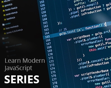 JavaScript code displayed representing the skills you will learn by taking the Learn Modern JavaScript series.